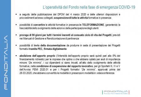 L'operatività di FondItalia nella fase di emergenza COVID-19